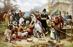 The First Thanksgiving By Jean Ferris. Indians Repro Choose Canvas Or Paper