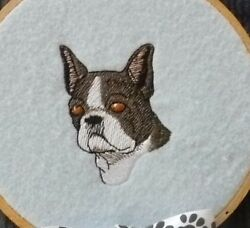 Boston Terrier Head B Dog Embroider Many Items Quilt Sewing Carols Crate Cover