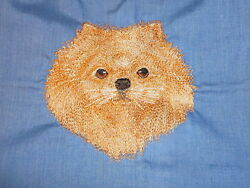 Pomeranian Orn Head A Dog Embroidery Many Items Quilt Sewing Carols Crate Cover
