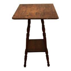 Antique 1900and039s Parlor Table 16 Square Spindle Beehive Leg Shabby Oak Victorian