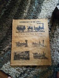 LOCOMOTIVES IN THE 1800's parchment train history poster STEAM ENGINE's
