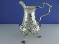 Early Silver Footed Creamer / Cream Jug W/ Pad Feet And Chased Floral Patterns