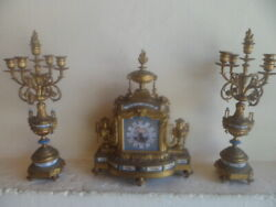 Japy Freres Mantle Clock With Sevres Porcelain And 2 Candlestick