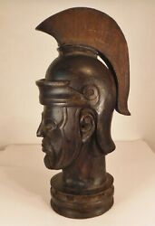 Antique Large Carved Wood Roman Soldier Architectural Newel Post Top 22 Tall