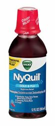Vicks Nyquil Cold And Flu Powerful Nighttime Relief Cherry 12 Fl Oz Pack Of 24