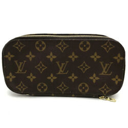 AUTHENTIC LOUIS VUITTON Monogram Trousse Brush GM Case Pouch Brown M47505