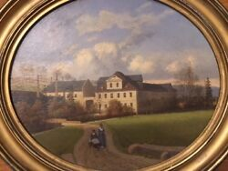 Ernst W. Hieronymi 1873 Landscape Baby Carriage Listed Germany Oil Painting