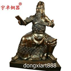 1.06 m Chinese bronze God of wealth Dragon Guan Gong Guan yu Buddha sit Statue