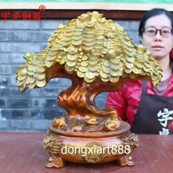 42 Cm Pure Brass Painted Chinese Fengshui Wealth Money Tree Treasure Bowl Statue