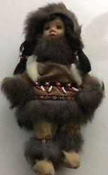 """Indian Native American Or Eskimo Girl Doll Porcelain And Real Fur 10"""" Tall"""