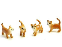 Dollhouse Miniatures Ceramic Tiny Cat Striped Animal Figurines Collectibles