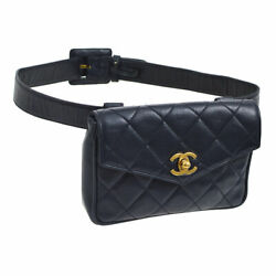 Authentic Quilted Cc Logos Waist Bum Bag Navy Leather Vintage Ak26104i