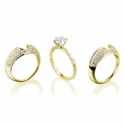 F Si2 Engagement And Wedding Band Rings Set Round Cut 18k Yellow Gold