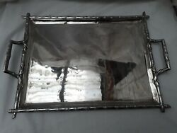 Rare 1900s French Solid Silver Chinese Bambo Design Tray.