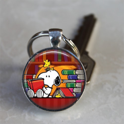 BOOK LOVER GIFT Snoopy Reading Library KEYCHAIN Librarian Gift Sterling Silver