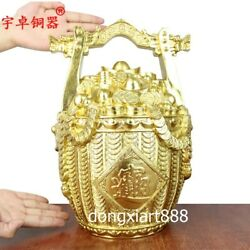 36 cm Chinese pure brass Gold Wealth Fengshui treasure bowl water bucket Statue
