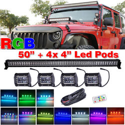 50inch Led Light Bar Combo + 4pcs 4 Spot Fog Pods With Rgb Halo Chasing Driving