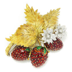 Vintage Enamel Strawberry Brooch Leaf Pin with Diamonds .75ctw