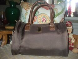 London Fog Brown Heavy Canvas And Leather Travel Duffel Tote Gym Beach Shop 140