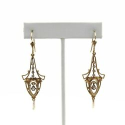 Victorian 14k Gold, Pearl And Rose Cut Diamond Chandelier Earrings .10 Ctw E-105