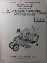 Sears Suburban Tractor 3-point Roto Tiller And 7hp Engine Owner And Parts 2 Manuals