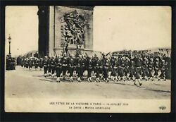 Ag1732 - Ww1 - Us Marines Marching In Paris 14 July 1919