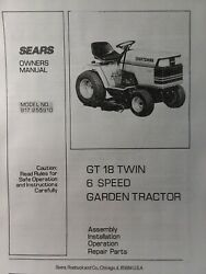 Sears 1985 Craftsman Gt/18 6 Lawn Garden Tractor Owner And Parts Manual 917.255910