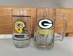Vintage Lot Of 2 Green Bay Packers Nfl Mobil And Heavy Stein Glasses / Mugs Glass