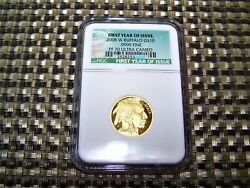 2008-W $10 GOLD BUFFALO PF70 RARE 1st year of Issue label 1/4oz