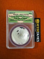 2014 1 P Proof Baseball Silver Commemorative Dollar Anacs Pr70 First Day Issue
