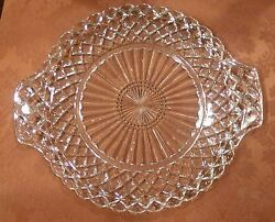Two Anchor Hocking Waterford Waffle Depression Glass Handled Cake Plates Clear
