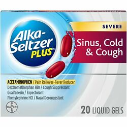 Alka-seltzer Plus Severe Sinus Cold And Cough Non-drowsy Liquid Gels 20 Ct 12 Pack