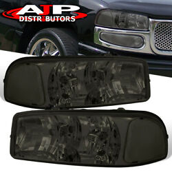 Smoked Lens Replacement Headlights Lamps Pair For 2000-2006 Gmc Sierra Yukon Xl