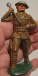 Old Lead Military Soldier Barclay Drum Major For Band W/ Baton And Tin Helmet