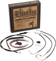 Burly B30-1238 Cable And Brake Line Kit Stainless Braid 13in. Bagger Bars