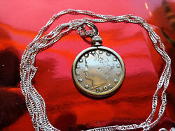 Antique 1905 Victory Liberty Nickel Pendant On A 28 Wavy Silver Chain