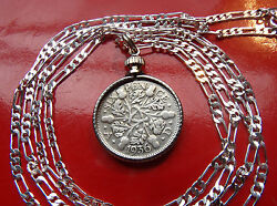 1927-1936 Classic English Silver Sixpence Pendant On A 16 Sterling Silver Chain