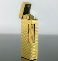 Vintage Dunhill Rollalite Yellow Gold Plated Butane Gas Cigar Cigarette Lighter