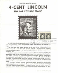1282 4c Abraham Lincoln Stamp Poster Qty. 1 - Unofficial Souvenir Page Fd