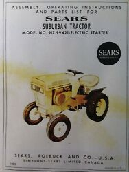 Sears Suburban 917.99421 Lawn Garden Riding Tractor 12 H.p. Owner And Parts Manual