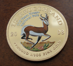 South Africa 2008 Natura Gold 50 Rand 1/2 Oz Colorized Proof Kruger Park