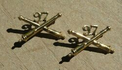Ww2 Us Army Military 97th Field Artillery Officer Collar Brass Insignia Pin Pair