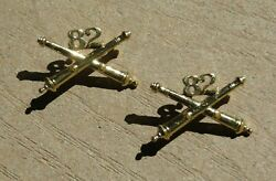 Ww2 Us Army Military 82nd Field Artillery Officer Collar Brass Insignia Pin Pair