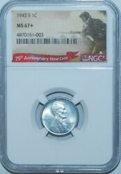 1943 S Ngc Ms67+ Lincoln Wheat Steel Cent