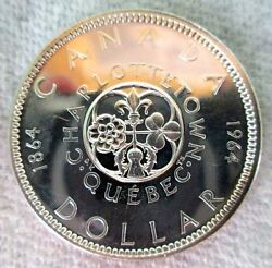 1964 Silver Canada Charlottetown One Dollar Coin Uncirculated Condition