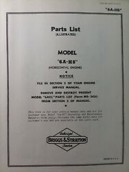 Briggs And Stratton 6a-hs Vertical Gasoline Engine Parts Manual Lawn Mower Tiller