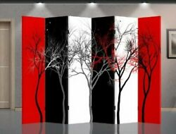 Double Sided Canvas Screen Room Divider - Abstract Trees