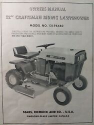 Sears Craftsman 32 Riding Lawn Mower 131.96460 Owner, Parts And Engine 2 Manuals