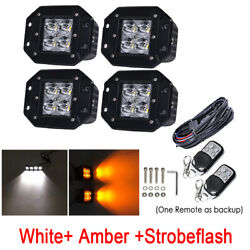 4x 24W White/Amber/Strobe LED Work Light Flush Mount Spot Dual Colors