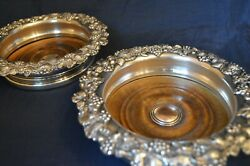 Pair Of Silver Plate White Metal Champagne Bottle / Wine Bottle Coasters